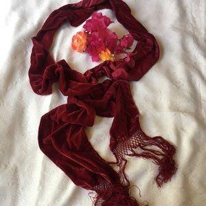 Crimson Velvet scarf with trim